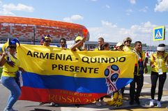 fanáticos del fútbol de Colombia imágenes de archivo libres de regalías