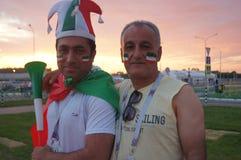 fanáticos del fútbol de Irán imágenes de archivo libres de regalías