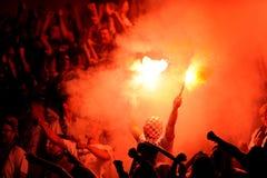 Fanáticos del fútbol en el humo 2 Fotografía de archivo