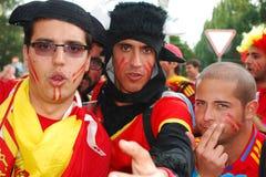 Fanáticos del fútbol españoles de Groupe Fotografía de archivo