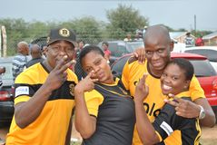 Fanáticos del fútbol felices Imagen de archivo