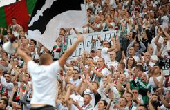 Fanáticos del fútbol, gamberros Foto de archivo libre de regalías