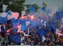 Fanáticos del fútbol, gamberros Foto de archivo