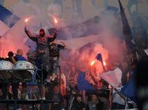 Fanáticos del fútbol, gamberros Imagen de archivo libre de regalías