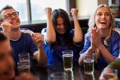 Fanáticos del fútbol o amigos con la cerveza en la barra de deporte Fotos de archivo