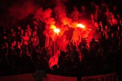 Fanáticos del fútbol que celebran meta Fotos de archivo