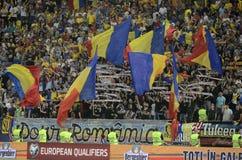 Fanáticos del fútbol rumanos Fotografía de archivo libre de regalías