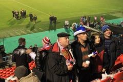 Fanáticos del fútbol rusos Fotografía de archivo libre de regalías