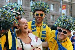 Fanáticos del fútbol - sueco Foto de archivo libre de regalías