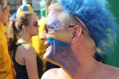 Fanáticos del fútbol suecos Imagenes de archivo