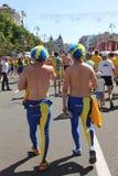 Fanáticos del fútbol suecos fotografía de archivo libre de regalías