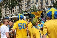 Fanáticos del fútbol suecos Foto de archivo libre de regalías