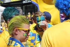 Fanáticos del fútbol suecos Imagen de archivo