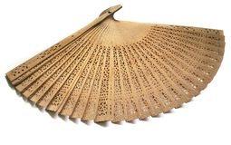 Fan. The carved wooden fan on the white background Royalty Free Stock Photo