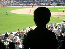Fan. Young boy watching a baseball game Stock Photo
