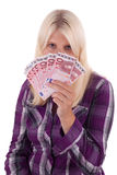 Fan. A fan of money before the face stock photography