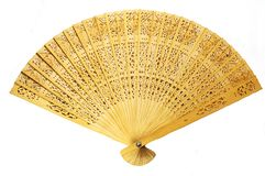 Fan. Cloes view of fully stretched wooden japanese fan stock images