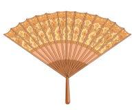 Fan. Brown fan on a white background Stock Photo
