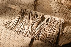Fan. An ancient mannual fan made of palm leaves Stock Images