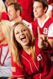 Fan: Acclamazioni grazioso del fan di baseball per il gruppo immagine stock libera da diritti