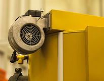 Fan for air. Centrifugal fan for supplying air to the solid fuel stock images