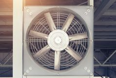 Fan Air Conditioner. Steel fan on steel structure for ventilation system and air conditioner system of factory building royalty free stock photography