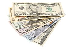 Fan American money 5,10, 20, 50, new 100 dollar bill on white background clipping path. Pile US banknote. Pile US banknote stock images