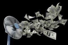 Free Fan And Winding Money Concept Background Business Composition On Isolate Black Stock Images - 101038874
