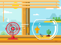 Fan and Aquarium on Windowsill Next to Open Window. Concept flat vector illustration Stock Photos