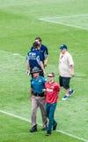 Fan arrêtée au Mile High Stadium Photographie stock