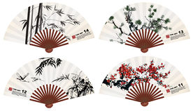 Fan art. Chinese fan art nature elements Royalty Free Stock Images
