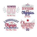 Fan Art Olympics. Theme. Vector Red And Blue Grafic Varsity Style Stock Images