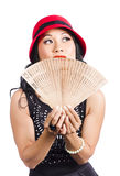 Fan of Asia. Stylish Chinese lady with oriental fan Royalty Free Stock Photos