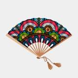 Fan asiatico d'annata dell'ornamento floreale illustrazione vettoriale