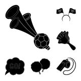 Fan and Attributes black icons in set collection for design. Sports Fan vector symbol stock web illustration. Royalty Free Stock Photo