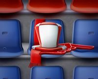Fan attributes on chairs. Vector illustration of row blue and red plastic chairs on the grandstand with attributes of fan Stock Photo