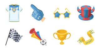 Fan and Attributes icons in set collection for design. Sports Fan vector symbol stock web illustration. Royalty Free Stock Image