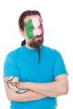 Fan aus Italien ist glücklich schauend und zur rechten Seite Stockfotos