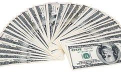 Fan av dollarräkningar som isoleras på vit bakgrund 0942 Arkivfoto