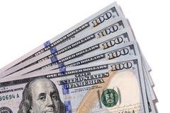 Fan av $100 isolerade räkningar Royaltyfri Fotografi