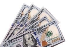 Fan av $100 isolerade räkningar Royaltyfri Bild