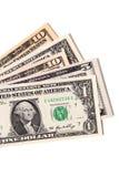 Fan av olika US dollarräkningar Fotografering för Bildbyråer