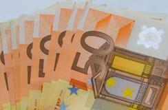 Fan av sedlar 50-Euro Royaltyfri Foto