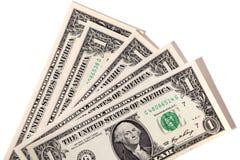 Fan av USA en dollar räkningar Arkivfoto
