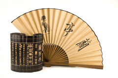 Fan and bamboo Stock Image