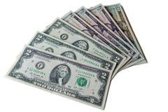 US Dollars : US dollar bills isolated on white background. Stock Images