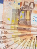 Fan of banknotes. Some 50 euro bills spread out as a fan Stock Image