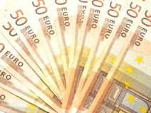 Fan of banknotes. Some 50 euro bills spread out as a fan Royalty Free Stock Photo
