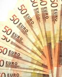 Fan of banknotes. Some 50 euro bills spread out as a fan Royalty Free Stock Images