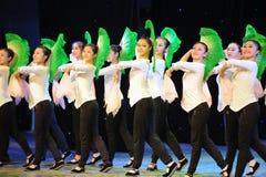 Fan basic skills-The national dance training Stock Image